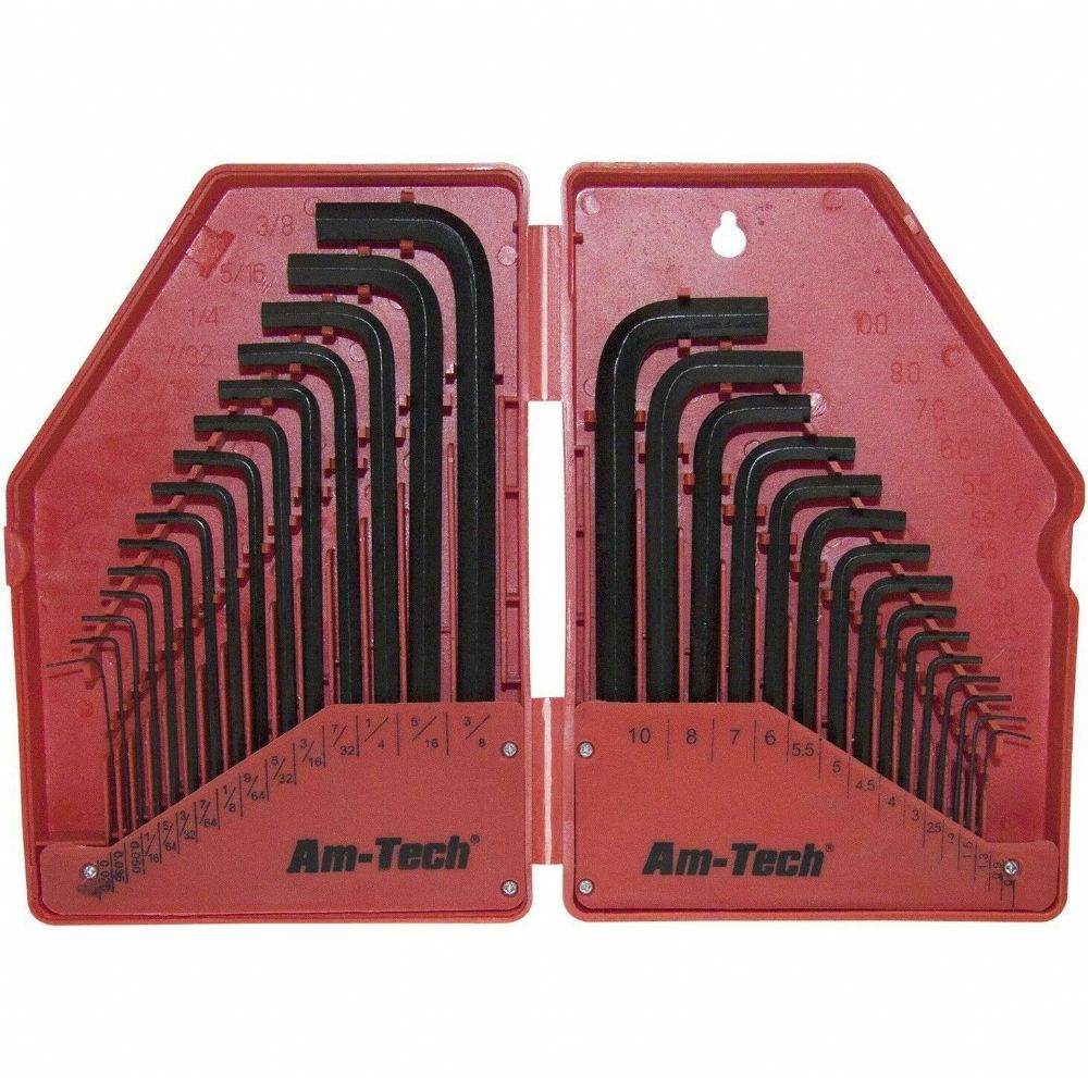 30pc Hex Allen Key Set Metric & Imperial DIY Steel Tools Hard Carry Case
